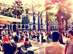 A group of Portugese dancers performing for diners in Place Real, Barcelona