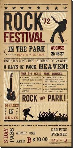 size: Stretched Canvas Print: Rock Festival by The Vintage Collection : Artists Using advanced technology, we print the image directly onto canvas, stretch it onto support bars, and finish it with hand-painted edges and a protective coating. Rock Vintage, Vintage Music, Rock And Roll, Pop Rock, Vintage Concert Posters, Vintage Posters, Music Posters, Festival Stil, Music Background