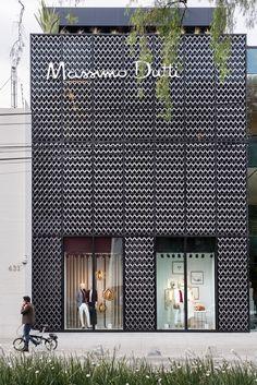 Massimo Dutti store by Sordo Madaleno Arquitectos in Mexico City, Mexico - Alles für den Garten Architecture Art Nouveau, Facade Architecture, Historical Architecture, Building Skin, Building Facade, Shop Front Design, Store Design, Facade Design, Exterior Design