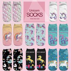 Emoji единорог смешные носки Горячая Продажа 3d Отпечатано женщин носки low cut лодыжки короткие spaort носки