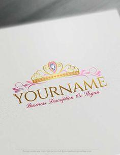 Online Princess Crown Logo Design Free Logo Maker Logomaker Logodesign Logomaker