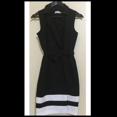 ☃SALE☃NEW Calvin Klein black vest wrap dress ❗️LOWERED❗️[NWOT] Calvin Klein black vest/jacket dress. Very classy and sexy at the same time! Bought this for my interview but never wore it since it's too big for me.  cute vest design with waist adjustable ribbon to make your waist look smaller. When you wrap it like a robe, there is a Zipper and button to secure, so no worries if it ever opens and exposes your body. Perfect for office, formal occasion, church, or any other occasions you can…