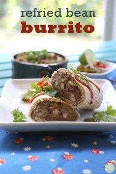 Refried bean burritos with pinto beans - A Mexican meal that's vegan, so delicious & great for lunch! | cadryskitchen.com
