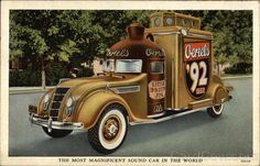 Linen postcard for Ortel's Brewing - The Most Magnificent Sound Car in the World. The spectacular sound car shown on the face of this postcard is used by the famous Oertel Brewing Company of Louisville, Kentucky, as part of their elaborate advertising and sales promotion on Oertels '92 Beer and Little Brown Jug Ale. Its cost exceeded $10,000.00. The special R.C.A. sound equipment installed in it cost approximately $4,000.00. The entire sound car is brilliantly illuminated at night - a magnificent sight - truly representative of the finest beer and ale in America