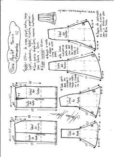 Esquema de modelagem de saia mulet sereia tamanho 52.