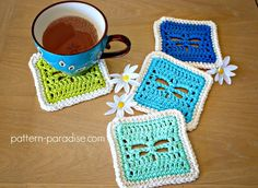 """""""Here's another dragonfly pattern! These playful coasters are so sweet with a dragonfly in the center. I made them in all different colors for fun but they would look great all in one color too. And, because each one only requires approximately 12 yards for the body and about 7 yards for the border, they are great stash-busters too! I added a very simple edging but they would look great with a crab stitch or even a lacy edge too! Approximately 4.5"""" x ..."""