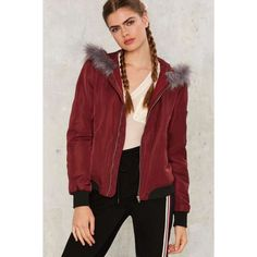 Views From the Faux Bomber Jacket ($118) ❤ liked on Polyvore featuring outerwear, jackets, red, faux-leather jacket, red jacket, red hooded jacket, lined leather jacket and leather bomber jacket