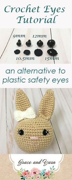 A free tutorial to make crochet eyes for amigurumi in 4 popular sizes!