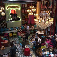 Photos at Kahwet Fairuz - Harbiye - Harbiye Mah. Mexican Restaurant Design, Oriental Restaurant, Deco Restaurant, Colorful Restaurant, Lounge Design, Cafe Design, Hotel Branding, Turkish Cafe, Opening A Coffee Shop