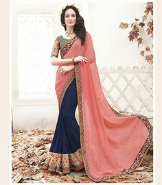 Pink Georgette Half and Half Saree With Blouse 68176