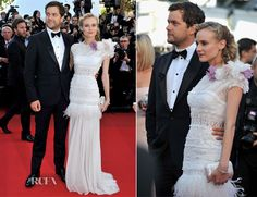 Diane Kruger reverted back to a more ethereal, romantic look for the 'Killing Them Softly' premiere during Cannes Film Festival.    The German actress wore beautiful white Nina Ricci gown which custom made for this event.