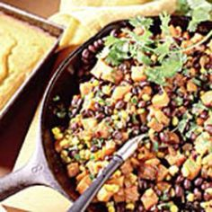 Sweet potato, Corn and Black Bean Hash. Hearty and healthy.