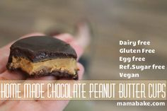 Home made chocolate peanut butter cups: healthy!  No Cook!, Take no time at all!