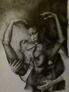"""da """"AMORE E PSICHE"""" disegno a BIC su carta 33x48cm Roma 2012"""