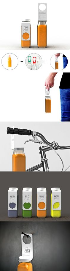 """This design, called the """"Moj Sokic"""" label, images the label as a handle to encourage reuse of a #juice #bottle. #Packaging #YankoDesign"""