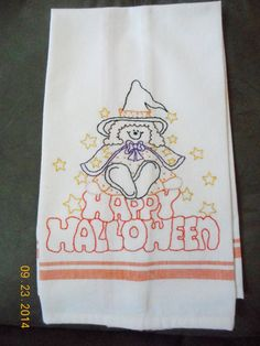 Halloween Embroidered Dishtowel. Vintage Look. by Happy2BCrafty