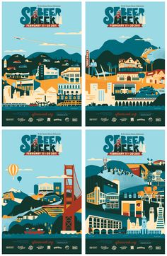 Poster series for SF Beer Week 2011. The Concept is beer as a destination and iconic bay area beer landmarks. 4 posters representing the regions - SF, North Bay, East Bay, & South Bay/Peninsula.