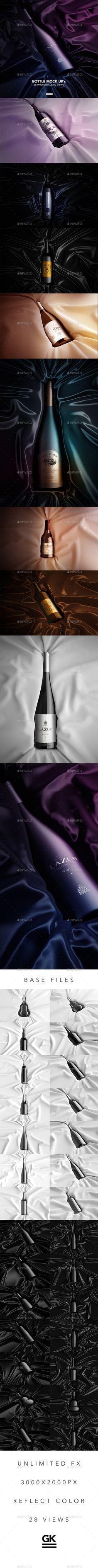 Wine Bottle Mock-up by Gk1 3D Underground / Subway Mock-up / Animated Edition 7 types of bottles