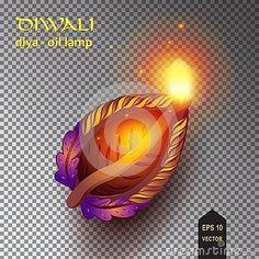 Happy Diwali - Diya oil lamps lit during For Indian diwali festival of lights celebration. Transparent Vector illustration Deepawali fest India Malaysia vector