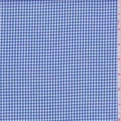 "Royal blue and white 1/8"" yarn dyed gingham check. This very lightweight cotton fabric has a crisp hand.Compare to $10.00/yd"