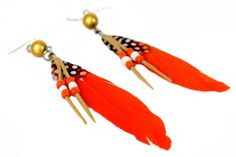 Boucles d'oreilles plumes colorées BIJOUX CHERIE Colorful Feathers, Belly Button Rings, Earrings, Jewelry, Html, Diy, Products, Handcrafted Jewelry, Orange Earrings
