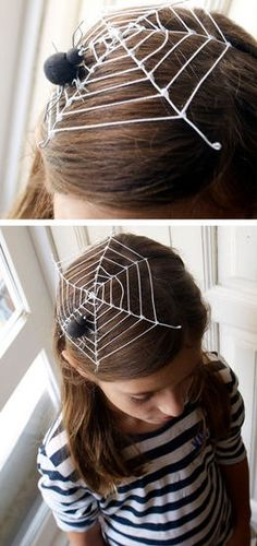 """truebluemeandyou: """" DIY Halloween Spiderweb Fascinator from The Paper Fairy here. This headpiece is made out of white wire, yarn, and a spider. Elastic holds it in place. """" *Or go with this more dramatic Spider Fascinator here and pair it with the. Holidays Halloween, Scary Halloween, Halloween Costumes, Halloween Hairstyle, Spider Costume Kids, Diy Halloween Headbands, Boo Costume, Costumes Kids, Fairy Costumes"""