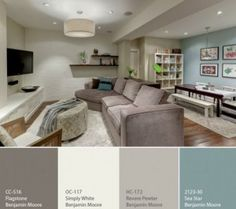 Great Benjamin Moore Revere Pewter Living Room With Additional Home Interior Design with Great Benjamin Moore Revere Pewter Living Room Home Remodel Ideas - Modern Home Interior Design Basement Colors, Basement Layout, Basement Designs, Playroom Color Scheme, Basement Color Schemes, Gray Color Schemes, Basement Decorating Ideas, House Color Schemes Interior, Playroom Paint Colors