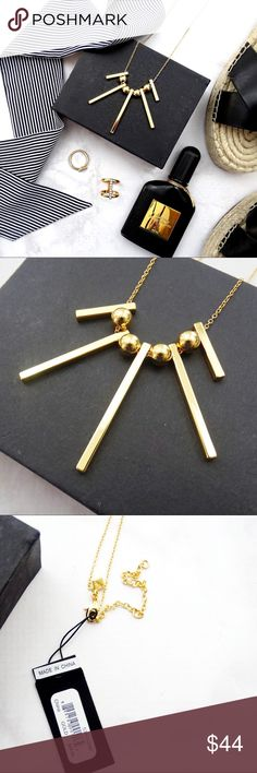 """Long Gold Geometric Bar Necklace Details: * 12kt gold plated brass * 30"""" L + 3"""" extender * NWT; last photo shows same style in different color 04061702 Rebecca Minkoff Jewelry Necklaces"""