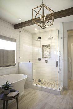 A Complete Master Bathroom Renovation | Signature Designs Kitchen Bath Master Bathroom Layout, Master Bathroom Shower, Bathroom Inspo, Master Bathroom Designs, Shiplap Master Bathroom, Master Bathroom Plans, Bathroom Ideas, Lake Bathroom, Spanish Bathroom