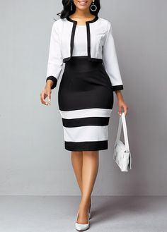 Contrast Piping Cardigan and Round Neck Dress | Rosewe.com - USD $23.98 Party Dress Sale, Club Party Dresses, African Fashion Dresses, Fashion Outfits, Womens Fashion, Fashion Clothes, Dress Fashion, Half Sleeve Dresses, Dresses With Sleeves