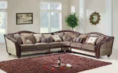 4 pc Valentina II collection multi tone and pattern chenille fabric upholstered sectional sofa with nail head trim