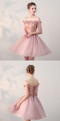 handmade dresses Off Shoulder Homecoming Dresses,Tulle Appliqued Homecoming Dresses,Pearl Pink Homecoming Dresses from veryprom · customdresskoko · Online Store Powered by Storenvy Hoco Dresses, Pretty Dresses, Sexy Dresses, Beautiful Dresses, Evening Dresses, Fashion Dresses, Formal Dresses, Vintage Homecoming Dresses, Homecoming Outfits