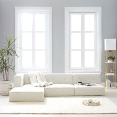 Cushy Lounge Sectional Sofa | Teen Sofa | Pottery Barn Teen White Couch Living Room, White Couches, White Sectional Sofa, Comfy Sectional, Cozy Living, Pottery Barn Sofa, Pottery Barn Teen, Floor Seating, Lounge Seating