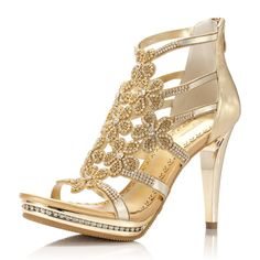 $53.02 golden color high-heeled shoes from zzkko.com