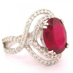 white gold oval cut ruby and round cut natural diamonds ring micro pave set double halo split shank engagement anniversary Red Jewelry, Vintage Jewelry, Jewelry Ideas, Jewelry Box, Jewellery, Engagement Ring Buying Guide, Engagement Rings, Round Cut Diamond Rings, Clean And Shiny