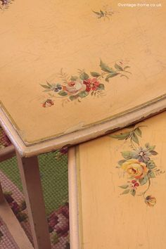 Vintage Home - 1930s Painted Floral Tables.