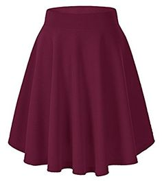Women's Basic Solid Versatile Stretchy Flared Casual Mini Skater Skirt (X-Large, Wine red) at Amazon Women's Clothing store: