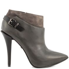 You'll feel blessed to have this chic ankle bootie in your life.  The Kenneth Cole NY Bless Life features a grey leather covered upper with side buckle and pointed toe.  A 4 1/2 inch heel completes this sophisticated look.