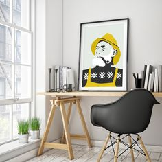 Fisherman, poster, 60s Kitsch, yellow, black, white, design by Holviks, Scandinavian print, House warming art, Nordic design
