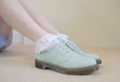 mint ankle doc martens with lace ruffle socks
