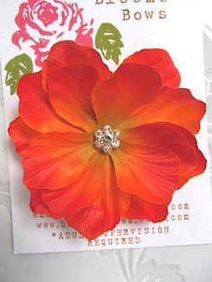Orange Flower Hair Clip ORANGE POPPY Flower Hair by bloomsnbows, $9.95
