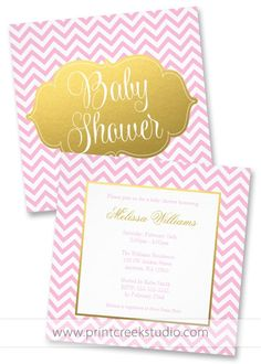 Pink and gold chevron girl baby shower invitations. Chic and feminine invites for a baby girl on the way.