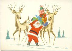 VINTAGE 1940'S/50'S CHRISTMAS GREETING CARD - CUTE MOD SANTA AND REINDEER! | eBay