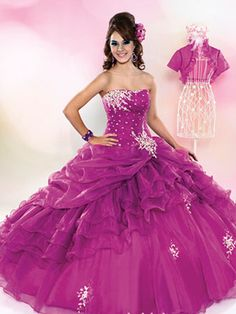 Purple Quinceanera Dresses - Long Dress With Jeweled Skirt