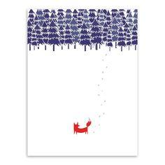 Moderne Nordic Minimalistische Landschap Dier Vos Boom Sneeuw A4 Enorme kunst Poster Muur Foto Canvas Schilderij Geen Frame Thuis Deco