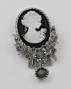 Cameo Brooch, black is such an elegant colour for a cameo.