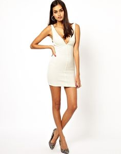 Oh My Love Plunge Neck Body-Conscious Dress