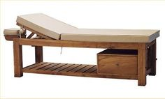 Height-adjustable massage table made of solid teakwood. Massage table comes with a comfortable mattress and headrest. Massage Bed, Massage Table, Massage Treatment, Thai Massage, Treatment Rooms, Style Bali, Massage Therapy Rooms, Reiki Room, Spa Interior