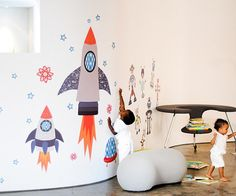 Large Colorful Rocketship Fabric Wall Decals for Space-themed Kids Rooms - Unique Eco-friendly Fabric Wall Stickers for Nursery, Toddler Rooms, Day Care Centers - Fabric Wall Murals for Kids Rooms, Bedrooms, Playrooms Kids Wall Murals, Murals For Kids, Akira, Modern Kids Decor, Toddler Rooms, Kids Rooms, Kids Bedroom, Bedroom Ideas, Nursery Ideas
