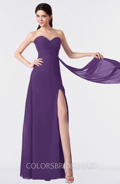 e0829f161efe9 Dark Purple Modern A-line Sleeveless Backless Split-Front Bridesmaid Dresses  at a discount